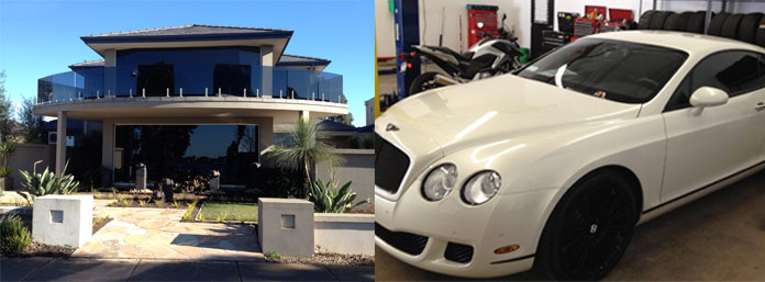 Expensive house and Bentley after window tinting.